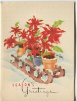 VINTAGE 1940S CHRISTMAS RED POINSETTIA POTS PLANTS SLEIGH SNOW GREETING ART CARD