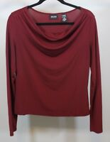 New York & Company Red Blouse Size M Medium Stretch Shirt Waterfall Neckline