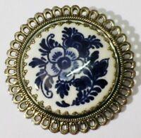 broche vintage couleur argent camée porcelaine déco fleur bleu * 4720