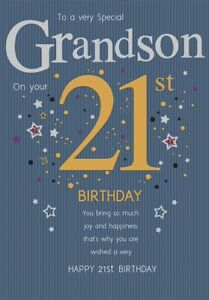 To A Special Grandson On Your 21st Large Happy Birthday Card Lovely Verse