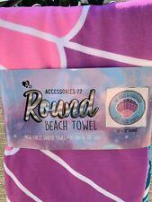 "ROUND MERMAID BEACH TOWEL 58"" X 58"" NWT ""BE LIKE A MERMAID AND MAKE WAVES"" POOL"