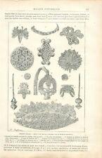 Antiquité de Grèce Orfèvre Bijoux d'Or à Mycènes Docteur Schliemann GRAVURE 1888