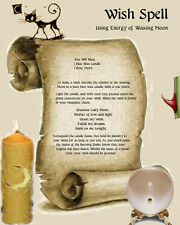 WISH SPELL page on parchment Wicca Book of Shadows #WMS3