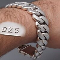 "10"" 195g HEAVY CHUNKY BIKER CURB CHAIN 925 STERLING SILVER MENS BRACELET PRE"
