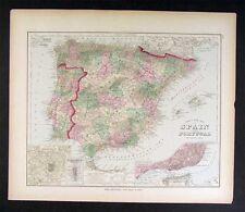 1879 Gray Map - Spain Portugal  Lisbon Madrid Gibraltar Toledo Braga Leon