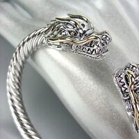 STUNNING Designer Inspired Silver Gold Dragon Twisting Cable Cuff Bracelet