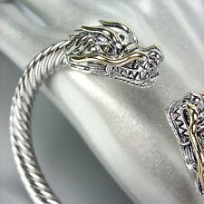 UNIQUE Designer Inspired Silver Gold Dragon Cable Cuff Bracelet