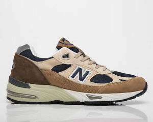 New Balance 991 Made In UK Men's Sand Navy Low Casual Lifestyle Sneakers Shoes