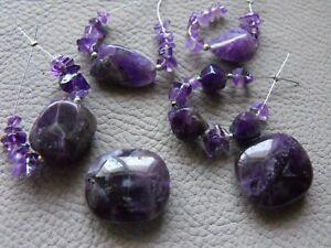 GEMSTONE BEAD SET raw druzy AMETHYST  CHAROITE semi precious gemstone
