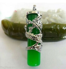 NEW Tibet Silver Green Jade Dragon Necklaces & Pendants
