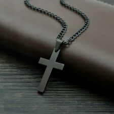 Mens Fashion black Gold Filled Chain Cross Pendant Necklace Engagement Jewelry