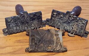 LOT 1920 antique TOY LEAD SOLDIER MOLDS BOTH SIDES HANDLES plus BONUS 1/2 MOLD