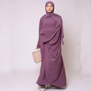 Prayer Clothes Jilbab Scarf 2Pcs Muslim Plain Full Cover Abaya Loose Robe Kaftan