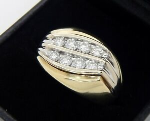 Men's 14K Yellow Gold 1 Carat SI1 G Diamond Ring Size 9 1/2 15.7 Grams