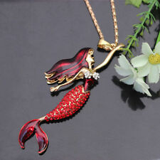 NEW Betsey Johnson Shinny Crystal Mermaid Pendant Necklace XL-30