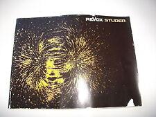 Original studer revox prospectus catalogue avec a77 a76 a78 a700 a720 a722, etc.