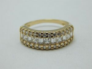 14K YELLOW GOLD 2 TCW ROUND BAGUETTES & PRINCESS CUT CZ'S ANNIVERSARY BAND RING