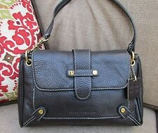 ISAAC MIZRAHI Small Brown Pebbled Leather Accent Stitch Satchel Handbag Purse