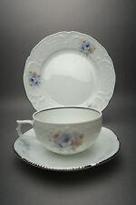 Rosenthal Sanssouci Belvedere Tee-/Kaffeegedeck Platinrand Blaue Blume 3-teilig