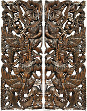 Traditional Thai Figure Asian Wall Art Carved Wood Panels Home Decor. Dark Brown