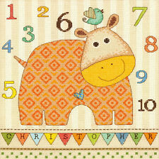 Cross Stitch Kit Dimensions Baby Hippo 123 Numbers Room Sign #70-73989 OOP SALE!