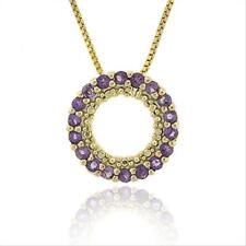 """18k Gold over 925 Silver 1/2ct Amethyst Circle Eternity Pendant, 18"""""""