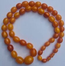 GENUINE antique EGG YOLK BUTTERSCOTCH chunky AMBER BEAD NECKLACE 66g 2.2cm bead