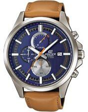New Mens Casio Edifice Chronograph Brown Leather Blue Dial EFV-520L-2AVUEF 5521