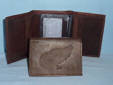 DETROIT RED WINGS    Leather TriFold Wallet    NEW    dark brown 3v nd