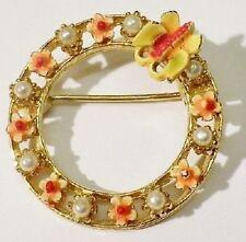 broche bijou vintage couleur or rosace papillon perles nacre signée ART * 3629