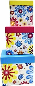 ALEF Floral Themed Nesting Gift Boxes Set of 3