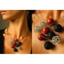 Wunderschönes Collier aus Lava, Koralle und Drathperlen, Silber 925, NEU*
