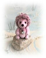 "3 1/2"" Faux Fur Pink Hedgehog OOAK Little jointed Artist Bear one off Design"