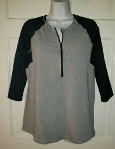 LULULEMON black Heather Gray Stretch Half Zip Workout Yoga Tunic Top L