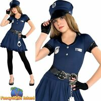 Cop Cutie Navy Police Woman Officer Girl Outfit Childs Kids Fancy Dress Costume