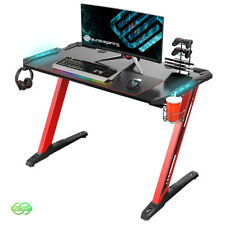 Eureka Z1-S Gaming Desk with Led Lights, Controller Stand, Cup Holder,Red
