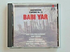 SHOSTAKOVICH SYMPHONY NO. 13 BABI YAR NY Philharmonic CD Teldec BMG 1994