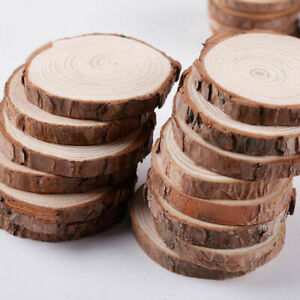 30X Wooden Wood Log Slices Natural Tree Bark Round Shape Tableware Decor Wedding