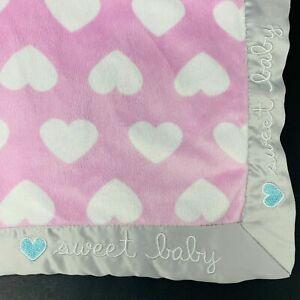 7C 30x40 GERBER Sweet baby Hearts Plush Velour Sherpa Satin baby Crib Blanket