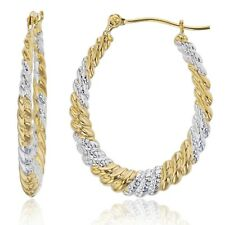 "1"" Oval Diamond Cut Twisted Hoop Earrings Real 14K Yellow White Two-Tone Gold"