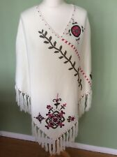 Vintage Casual Comfort Cream Embroidered Tassel Poncho (one Size)