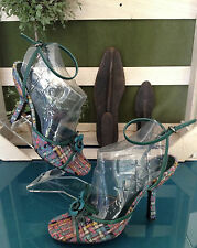 Miu Miu Pastel Plaid Sandals - Size 36 1/2M