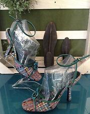 Miu Miu Pastel Plaid Sandals - Size 36 1/2M