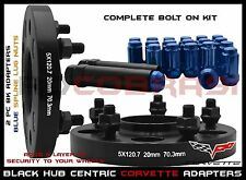 2Pc Camaro Corvette 20MM Hub Centric Wheel Spacers + 12x1.5 Blue Spline Lug Nuts