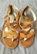 ZARA WOMAN Tan Brown Suede Leather Strappy Flats Sandals Size 38 B51