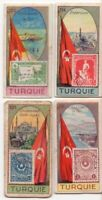 4 Turkey Pre-WWII Trade Ad Cards Showing Postage Stamp Flag Country Scene