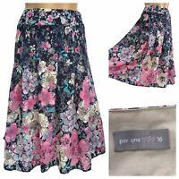 PER UNA Multicoloured Blue Pink Flora Sheer Pleated Midi Skirt Size 16 UK