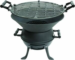 GARDEN CAST IRON PORTABLE FIRE PIT CHARCOAL BBQ GRILL PATIO CAMPING BARBECUE NEW