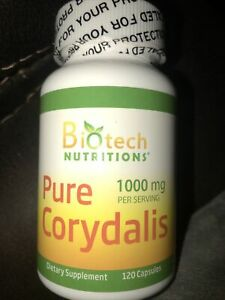 biotech nutritions pure corydalis 1000 mg —120 capsules—new