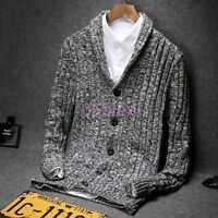 Mens Fashion Warm Lapel Sweater Slim Fit New Knitted Casual Cardigan Coat Jacket